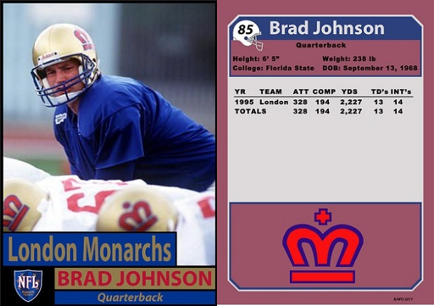 Brad Johnson with the London Monarchs in 1995.