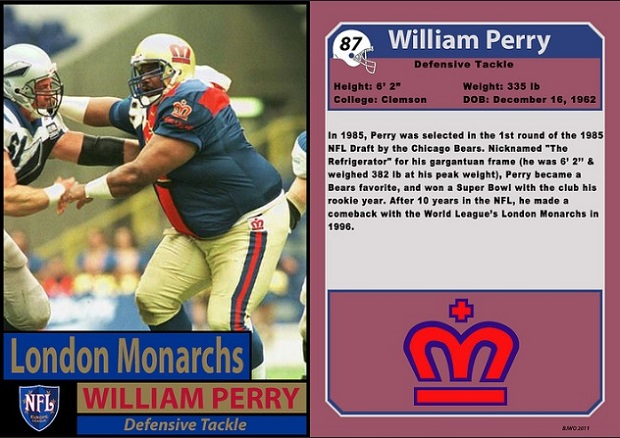 "William ""Refrigerator"" Perry with the London Monarchs in 1996 (Willie O'Burke/Bill Jones)"