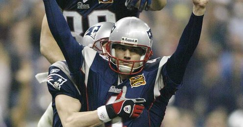 Adam Vinatieri after kicking the game-winning field goal for the in Super Bowl XXXVI