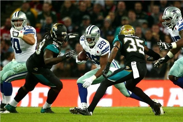 The Dallas Cowboys faced the Jacksonville Jaguars at Wembley Stadium in London on November 9th, 2014. (Photo by Charlie Crowhurt/Getty Images)