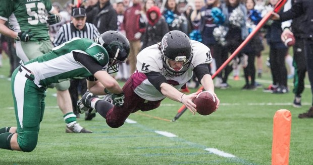 Clay Rust diving for the end zone against the Swansea Titans (Courtesy of Craig Thomas-Tallboy Images)