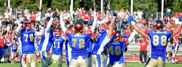 Seppo Evwaraye's team, the Wasa Royals, celebrating their victory in the 2014 Spaghetti Bowl. (courtesy of Samppa Toivonen)